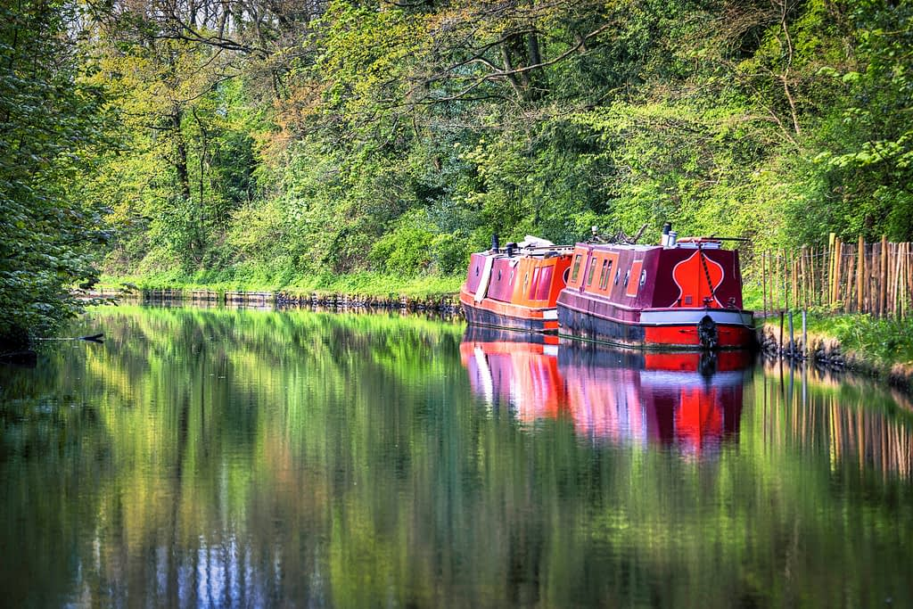 Red canal boats