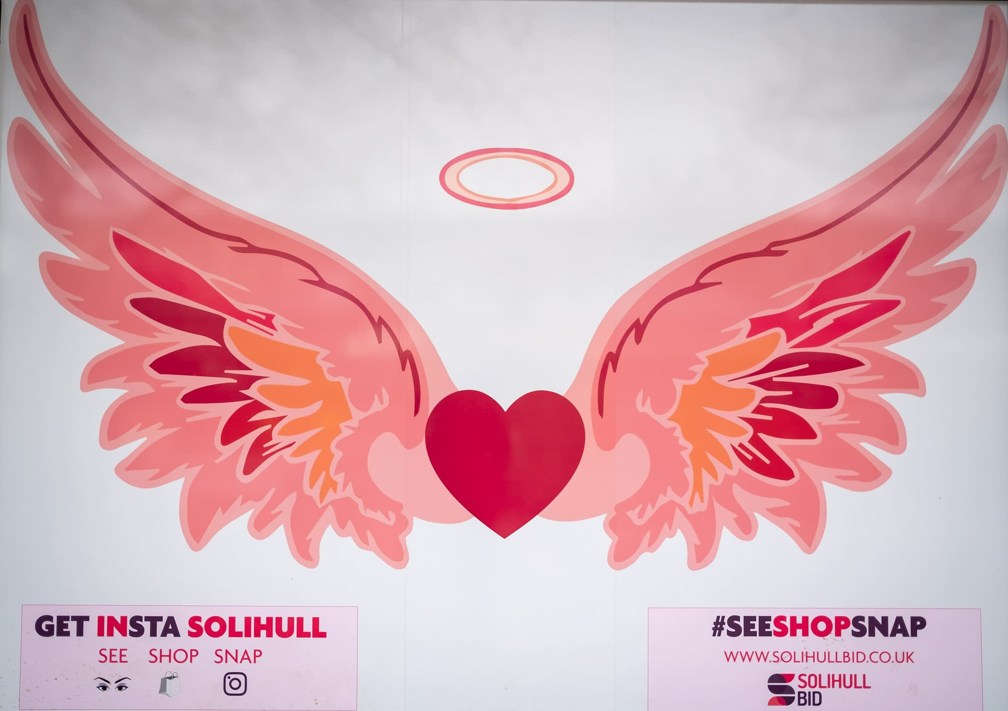 An angel wings mural